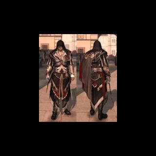 Ezio portant <b>l'armure d'Altaïr</b>
