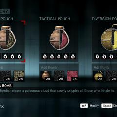 Bomb crafting screen