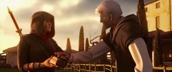 Ezio dona scrigno a Shao Jun