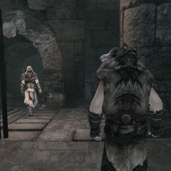 Ezio piégeant le fuyard