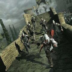 Ezio使用烟幕弹躲避追赶