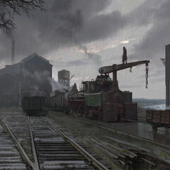 Concept art of an industrial area