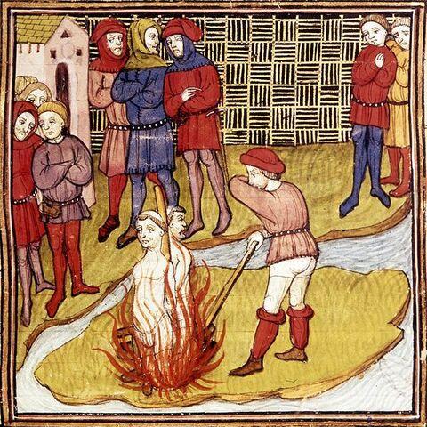 一幅描绘德·查尼和德·莫莱处刑中的细密画