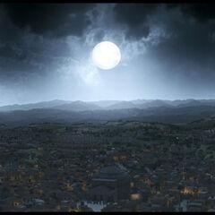 Panoramic view of Rome at night