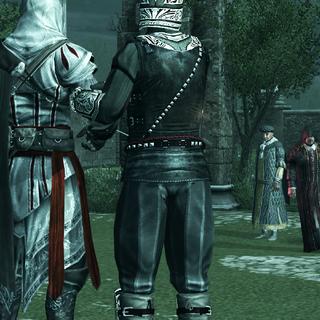 Les gardes de Borgia retenant Ezio au <b>théâtre antique romain</b>