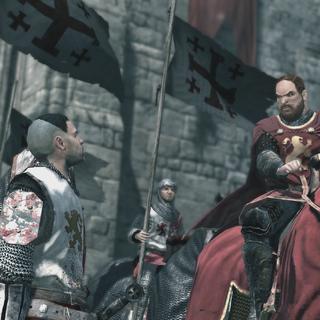 الملك ريتشارد أمام القلعة.