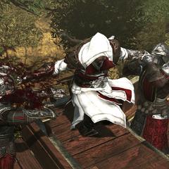 Ezio prenant le contrôle du chariot