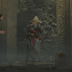 Ezio inspecteert de deur