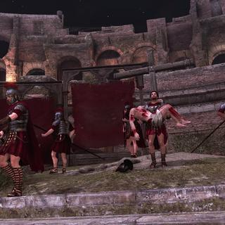 Ezio carrying Pietro off the stage