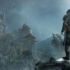 Ezio looking up at Masyaf in 1511