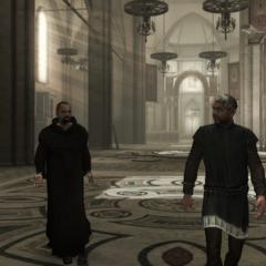 Le moine et le peintre dans la basilique