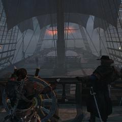 库克与谢伊一众一起航进战斗
