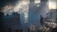 ACU Notre Dame Assassin guillotine artwork