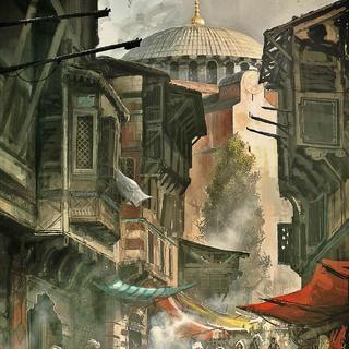 Concept-art du marché dans le <b>quartier Impérial</b>