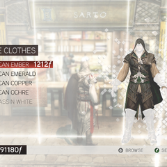 The customization menu for Giovanni's robes