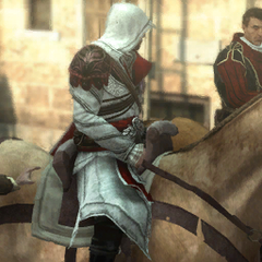 Ezio et Machiavelli parlant à cheval.