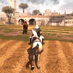 Ezio suivant la courtisane