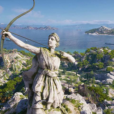 岛上的阿尔忒弥斯·女猎人雕像