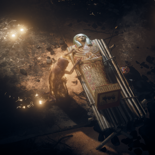Khaliset auprès du sarcophage d'Eshe