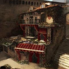 Concept art van het bordeel in Monteriggioni.