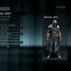 The customization menu for Ezio's Pilgrimage robes