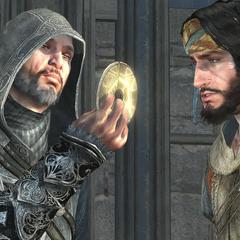 Ezio montrant une clé de Masyaf à <b>Yusuf</b>