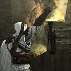 Ezio détruisant les plans de la mitrailleuse