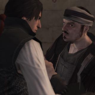 Ezio geeft de brief aan de huurling.