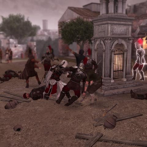Ezio repoussant l'attaque sur la Guilde