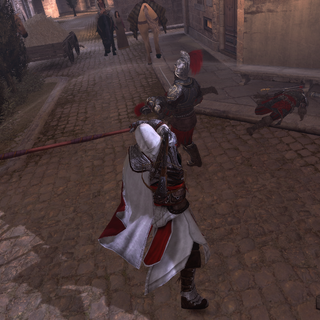 埃齐奥挥动长戟扫击敌人