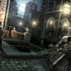 Ezio éliminant discrètement un garde