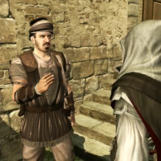 Un mercenaire tenant Ezio informé de la situation