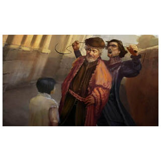 Micheletto strangling a man in front of the young Giovanni