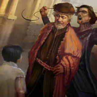 Micheletto wurgt een man voor de ogen van de jonge Giovanni.