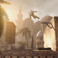 Altaïr sautant d'un toit à l'autre à <b>Damas</b>