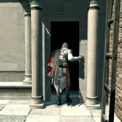 Ezio pénétrant dans la basilique