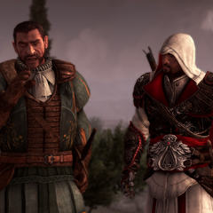 Ezio et Bartolomeo complotant contre le Baron de Valois