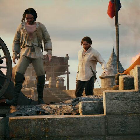 <b>Pierre</b> confiant à Arno le moyen de trouver la Confrérie