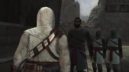 Rauf proszący Altaïra o pomoc