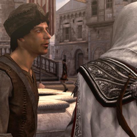 Ezio parlant au citoyen