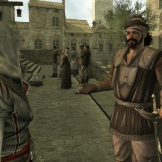 Un mercenaire informant Ezio des environs de Maffei