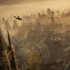 Arno Dorian sautant d'une église de <a href=