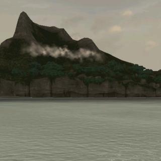 岛屿上的一座山