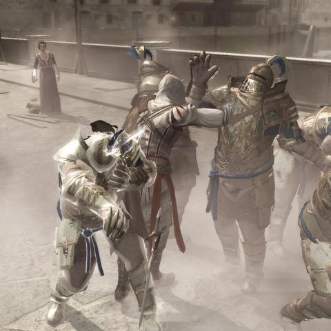 Ezio tuant deux brutes
