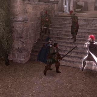Ezio en Bartolomeo verdedigen zichzelf.
