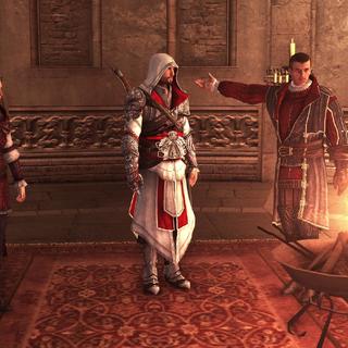 Machiavelli plaçant Ezio à tête de la Confrérie italienne