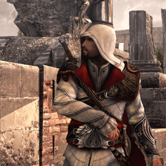 Ezio se mettant en garde