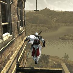 Ezio se frayant un chemin jusqu'à l'atelier