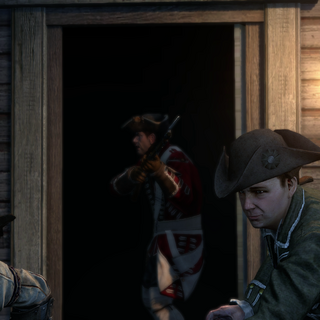 Revere and Connor escaping from the British Regulars