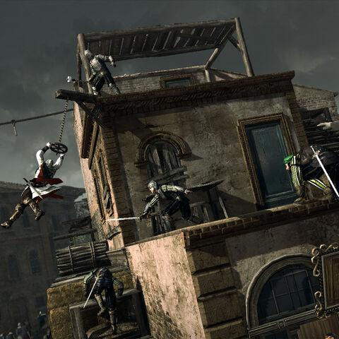 Ezio empruntant un objet en suspension pour échapper aux gardes de Forlì